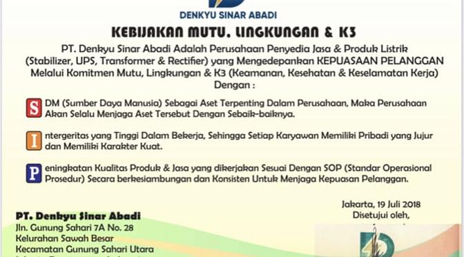 Pt. Denkyu Sinar Abadi. Importir, Pabrik dan Penyedia Jasa Produk Elektronik Indonesia